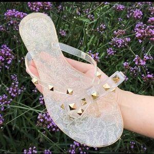 Designer Jelly Flip Flops Stud Slip on Shoes 8.5